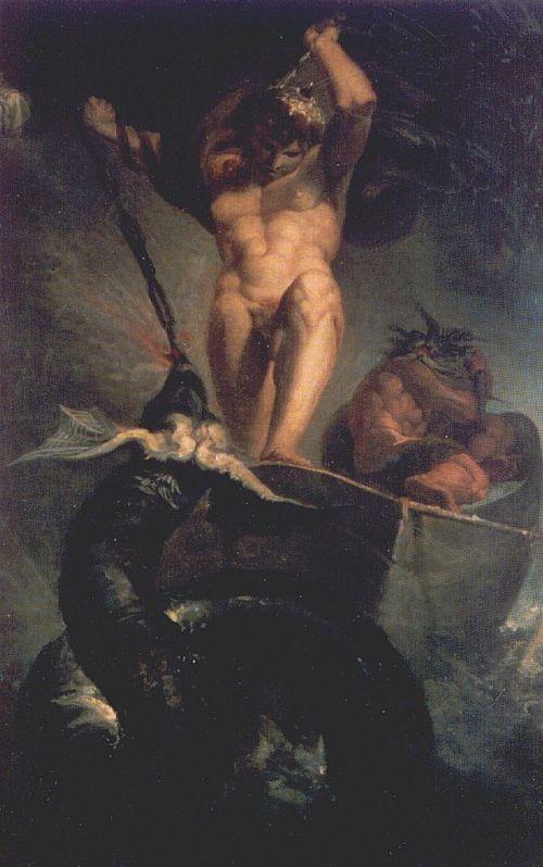 Heinrich Fussli (1747-1825). Thor peleando con la serpiente (1788)
