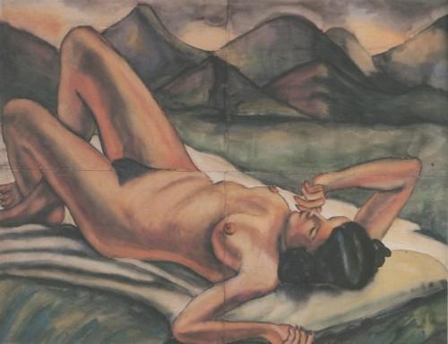 Débora Arango. Montañas (1940) Acuarela 97 x 127 cm. Colección MAMM