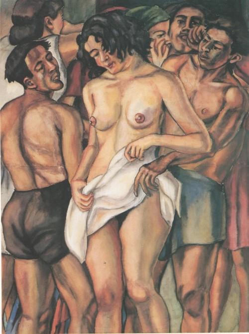 Débora Arango. Friné o la trata de blancas (1940) Acuarela. 132 x 100 cm. Colección MAMM