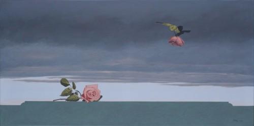 Atardecer con rosas/Óleo sobre tela/ 60 cms x 120 cms/2009